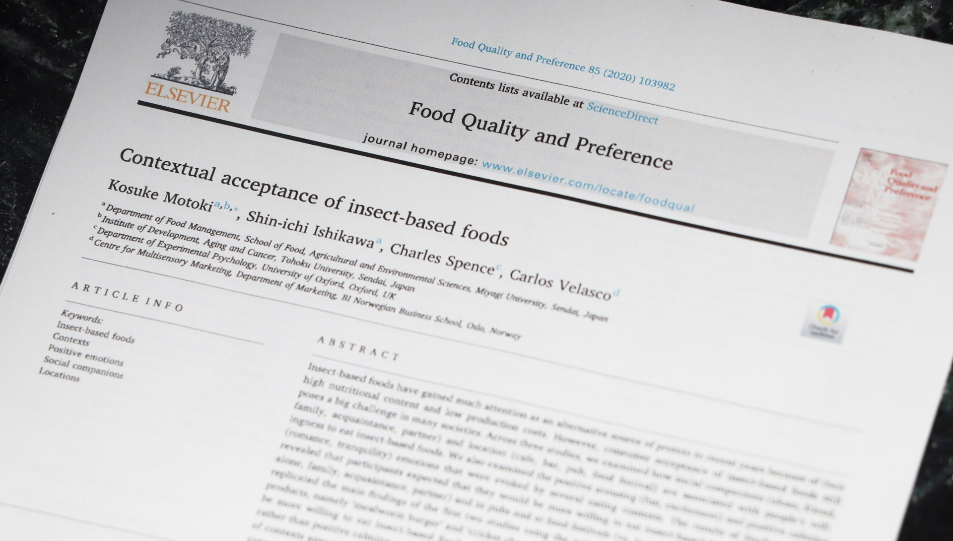 Contextual acceptance of insect-based foods